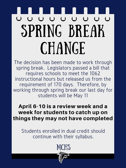 Spring Break Changes
