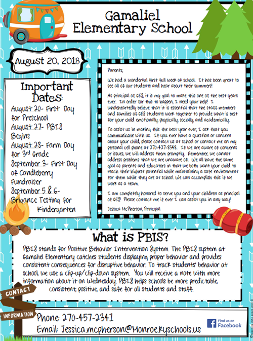 august newsletter gamaliel elementary