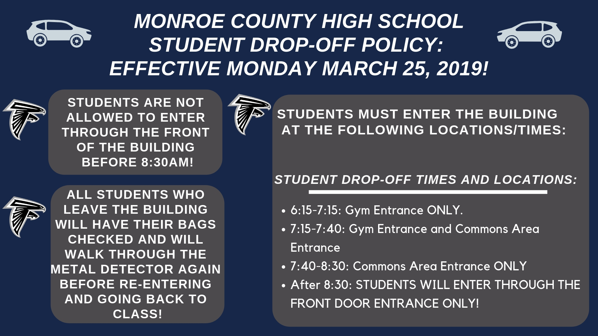 MCHS Drop Off Policy