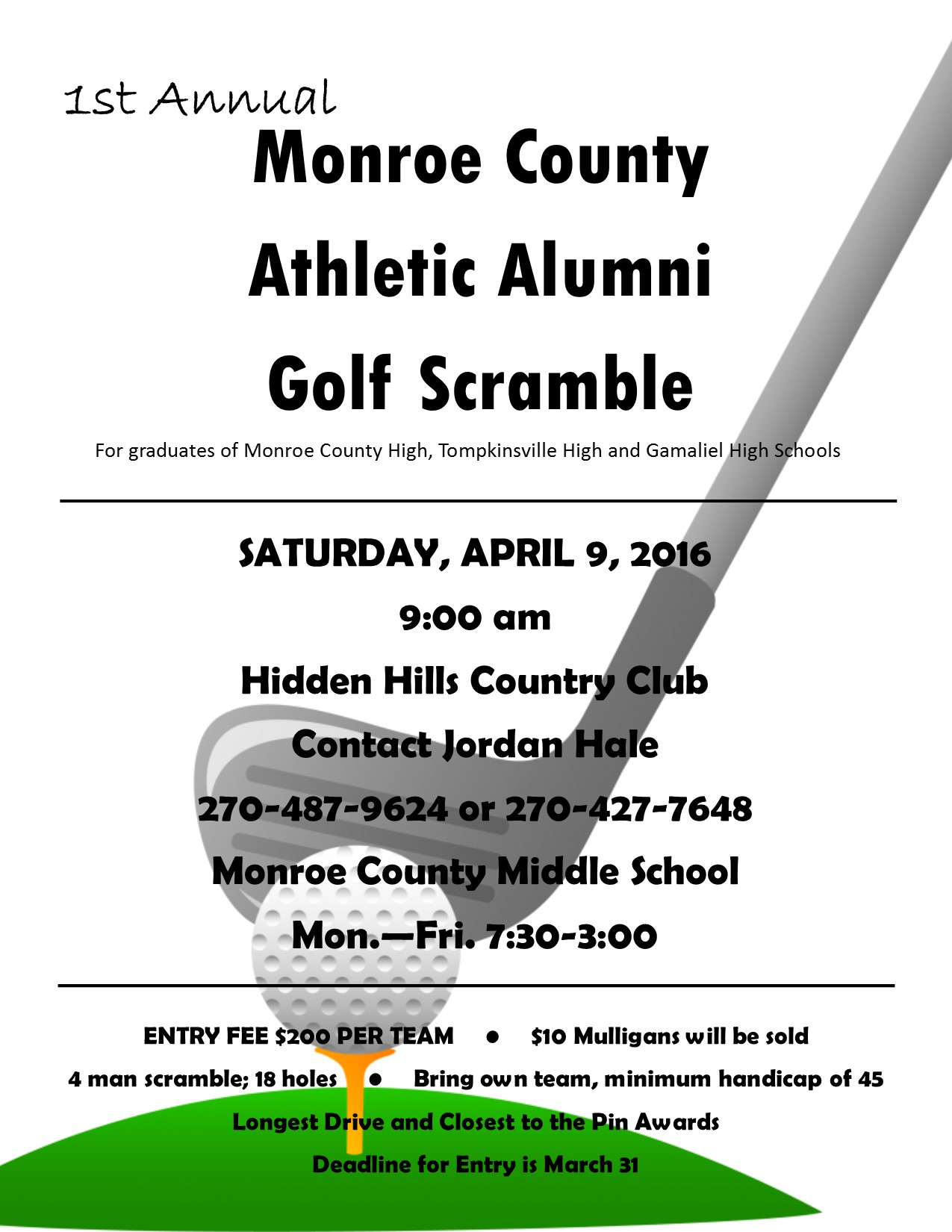 Monroe County Athletic Alumni Golf Scramble
